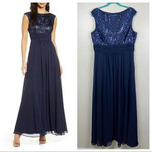 Eliza J | Navy Sequin Embroidered Sequin Gown 16